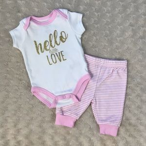 Baby Essentials Hello Love Gold Glitter Outfit Set